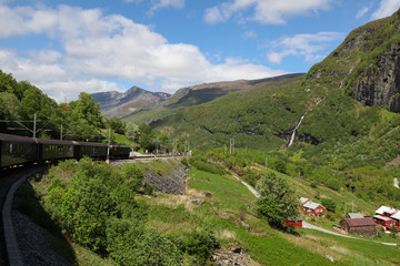 "Train ""Flamsbana"" rides on the Flam railway"