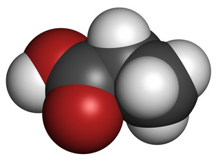 Propionic acid (propanoic acid) molecule. Used as preservative.