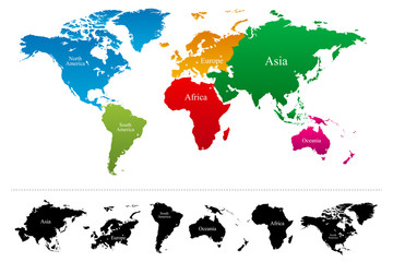 World map with colorful continents Atlas - Vector