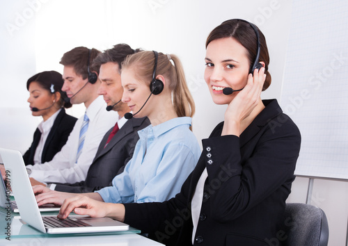 Happy Female Telephone Worker