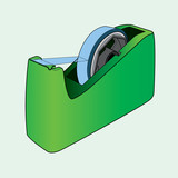 Tape dispenser with adhesive tape out line vector