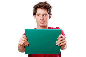 Guy with green board to put your text