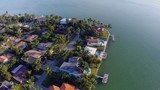 Aerial video of waterfront homes in Miami