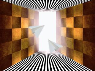 光へ向かう2つの紙飛行機