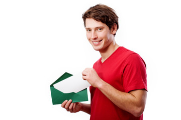 Young man with envelope for your text