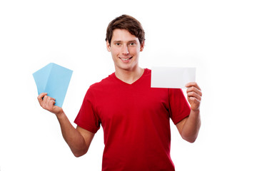 Man in red holding card for your own text