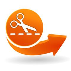 découper suivant les pointillés sur bouton web orange