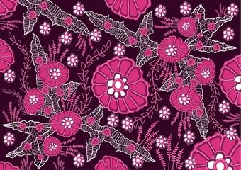 indonesian batik flower pink