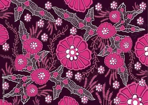 indonesian batik flower pink