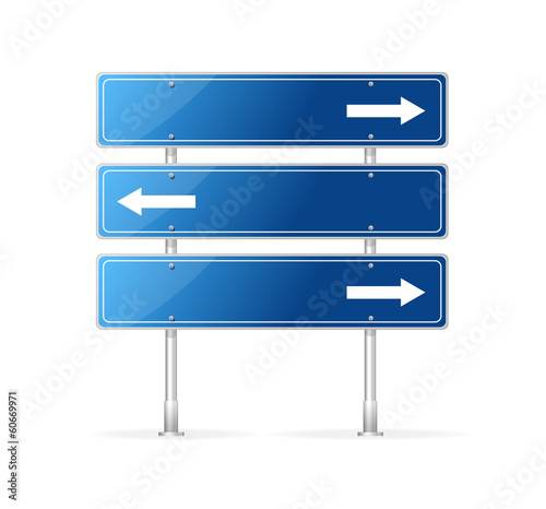 Blank traffic sign with white arrow