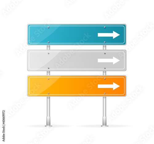 Blank traffic sign with white arrow header