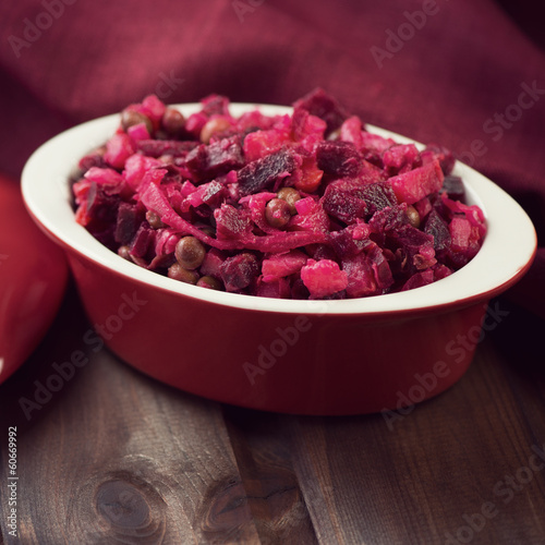 Russian salad made of beetroot, other vegetables and vinegar