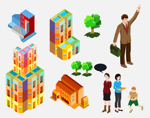 isometric of building and people