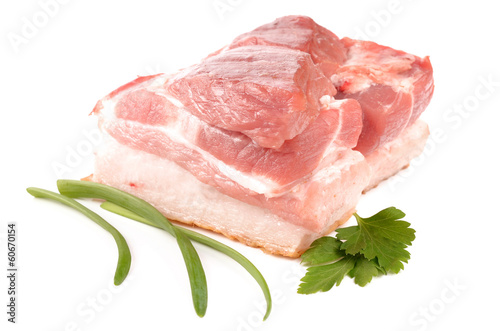 Meat and spices on a white background