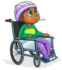 A Black man riding on a wheelchair