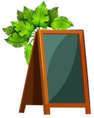 An empty menu board with plants