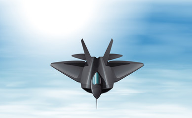 A gray fighter jet in the sky