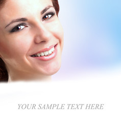 Beautiful Healthy Smiling Face Young Girl.Fresh Skin Face Woman
