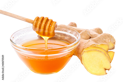 honey and ginger isolated with path