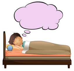 A young boy with an empty thought while sleeping