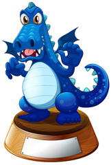 A blue dragon above the empty label template