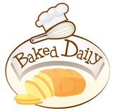 A baked daily label with bread
