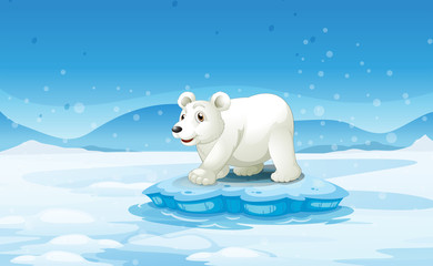 A white bear standing above the iceberg