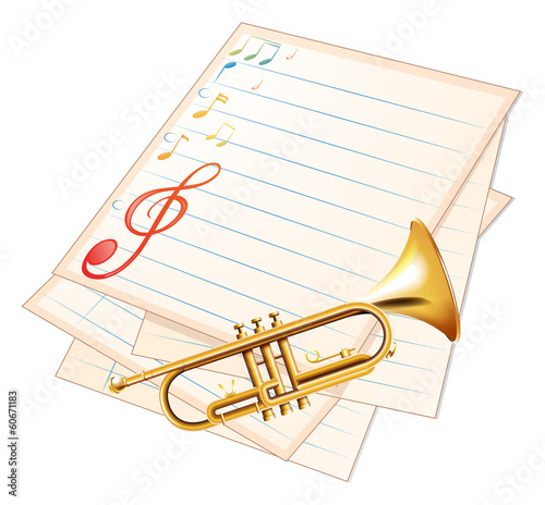 An empty music paper with a trumpet