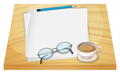 A table with empty papers, a pencil, an eyeglass and a cup of ho