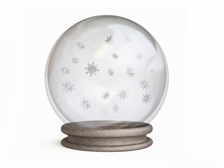 Snow Globe with Snowflakes in 3D