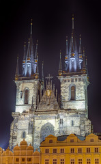 Church of Our Lady Before Tyn at night, Prague, Czech Republic