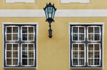 Fragment of wall of building in old Riga city-capital of Latvia