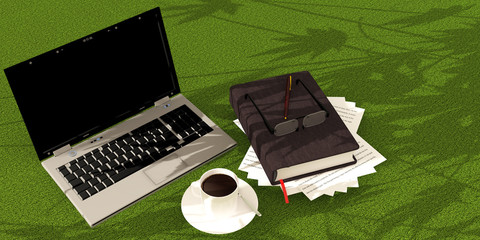 Laptop book coffee on green carpet