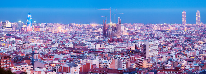 view of historic district at Barcelona in evening
