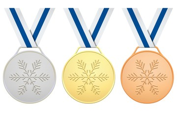 Medals with blue white ribbons for Winter games