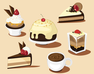 chocolate cake and vector