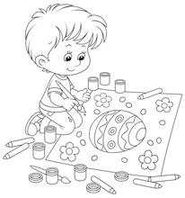Dziecko rysunek jajka wielkanocne