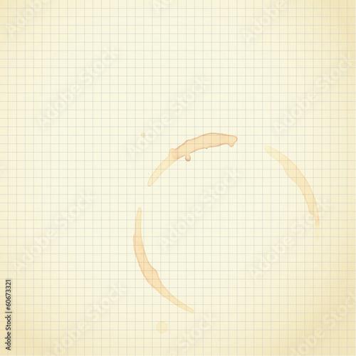 kaffeefleck auf karopapier
