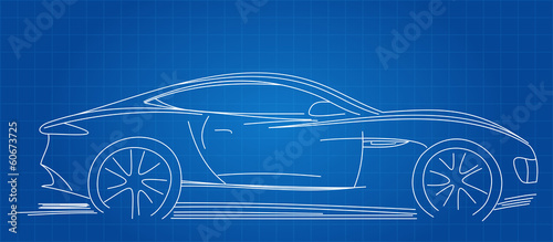 Sports Car Sketch Blueprint Vector Illustration