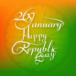 26 january beautiful calligraphy happy republic day text tricolo