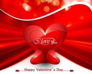 Happy valentine's day card for shiny heart bright colorful backg