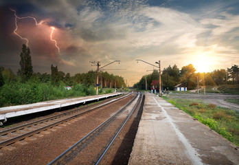 Bad weather over railroad