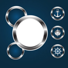 Sea icons, round porthole, vector.