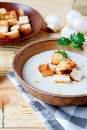 cream of mushroom soup with croutons