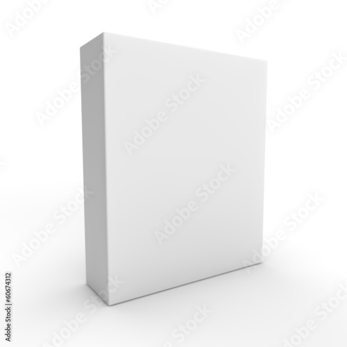blank white box packaging on white background