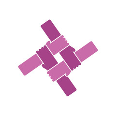 Vector violet Logo teamwork, hands crossed