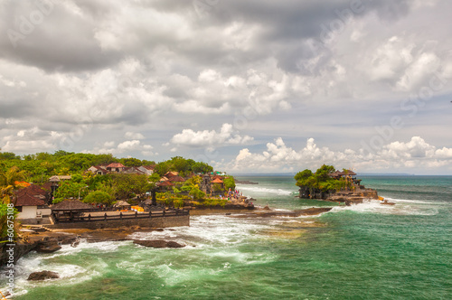 Aerial view to Tanah Lot sea temple bali