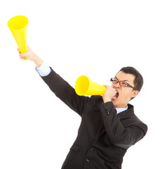 asian businessman  encouraging with cheering megaphone