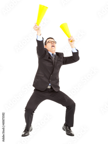 Businessman  encouraging  with cheering megaphone