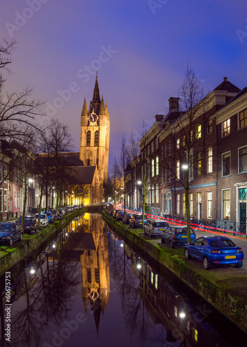 Night view of the historic city center of Delft, The Netherlands